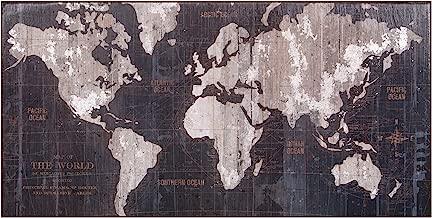 Patton Wall Decor Large Indigo Blue Vintage World Map 20x40 Stretched Canvas Wall Art,