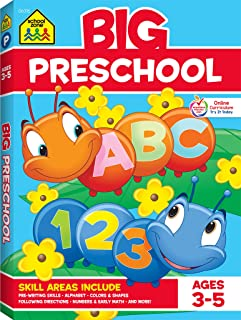 School Zone - Big Preschool Workbook - Ages 3 - 5, Colors, Shapes, Numbers 1-10, Alphabet, Pre-Writing, Pre-Reading, Phonics, and More (School Zone Big Workbook Series)