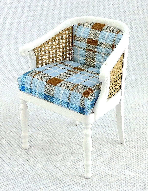 Melody Jane Dolls House Tub Chair White Rattan Check Armchair Miniature 1 12 JBM Furniture