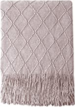 BOURINA Decorative Purple Throw Blanket Textured Solid Soft for Sofa Couch Cozy Decorative Knitted Blanket, 50