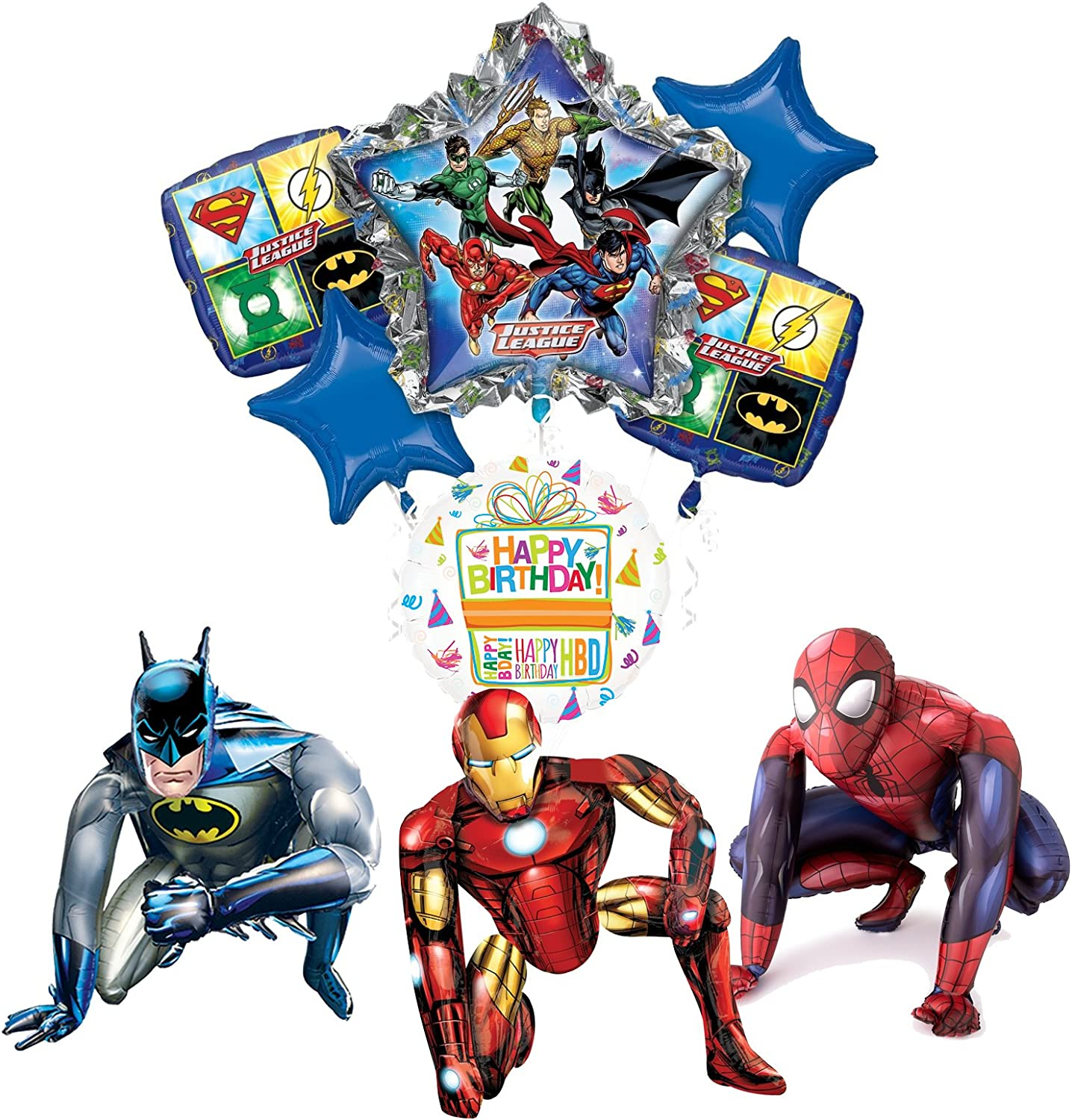 Mayflower Products Justice League Party Supplies Batman, SpiderMan and Iron Man Airwalker Balloon Bouquet Decorations
