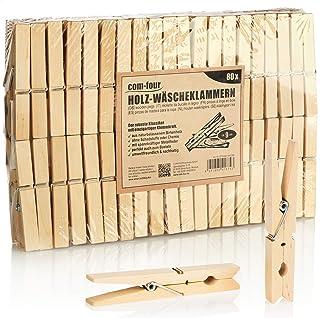 com-four® 80x Pinces à Linge XL en Bois - Pinces en Bois durables en Bois de Bouleau - Pinces à Linge en Bois pour Suspend...
