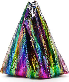 Miuco Rainbow Sequins Totes Colorful Reversible Sparkling Shoulder Bags