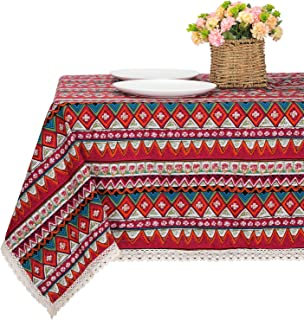 Bettery Home Bohemian Style Square Tablecloth Cotton Linen Lace Boho Table Cloth for Kitchen Dining Room Tabletop Decorati...