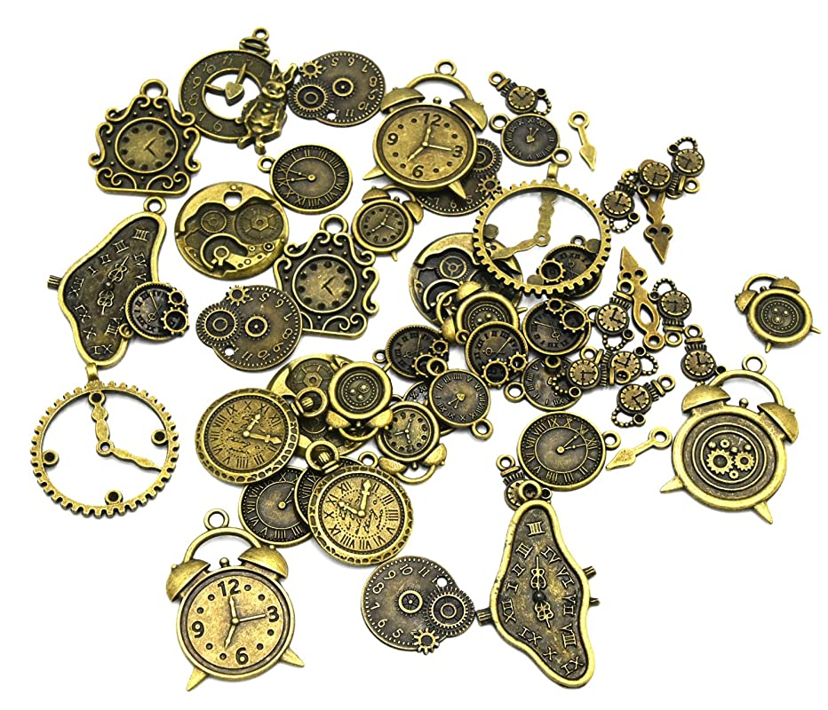 Youkwer 100 Gram Assorted Antique Clocks and Watches Alloy Charms Pendant Mixed Clock Pointer for DIY Jewelry Making and Crafting Accessaries (100 Gram,Antique Bronze)