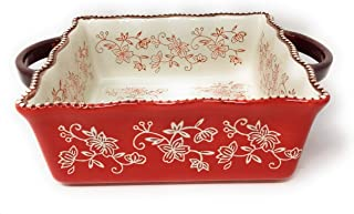 Temp-tations 8x8 Brownie Baker 1.5 Qt Square Casserole Dish, Wavy Edge, Loop Handles (Floral Lace Red)