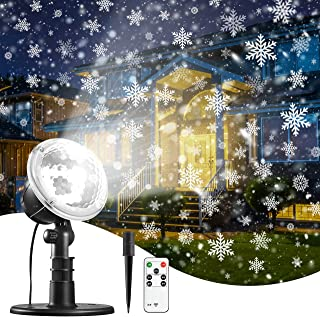 Christmas Snowflake Projector Light, IP65 Waterproof for Garden House Outdoor Indoor Snowfall Snow LED Projection Decoration for Xmas, Valentine's Day, Wedding, Party