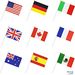 Kind Girl 50 Countries Small Mini Flag International Flag Country Stick Flag Hand Held Round Top National Flags,Party Decorations Supplies for Parades,World Cup,Sports Events,International Festival