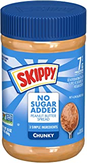 SKIPPY Chunky Peanut Butter Spread No Sugar Added, 16 Ounce (Pack of 12)