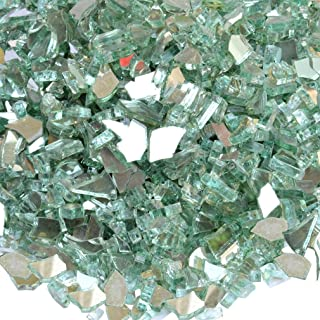 onlyfire Reflective Fire Glass for Natural or Propane Fire Pit, Fireplace, or Gas Log Sets, 10-Pound, 1/4-Inch, Light Green