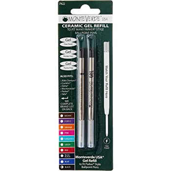 Pack of 2 /&Fine Point Capless Gel Refill for Parker Ballpoint Pens Monteverde Fine Point Capless Gel Refill for Parker Ballpoint Pens Pack of 2 Purple Green