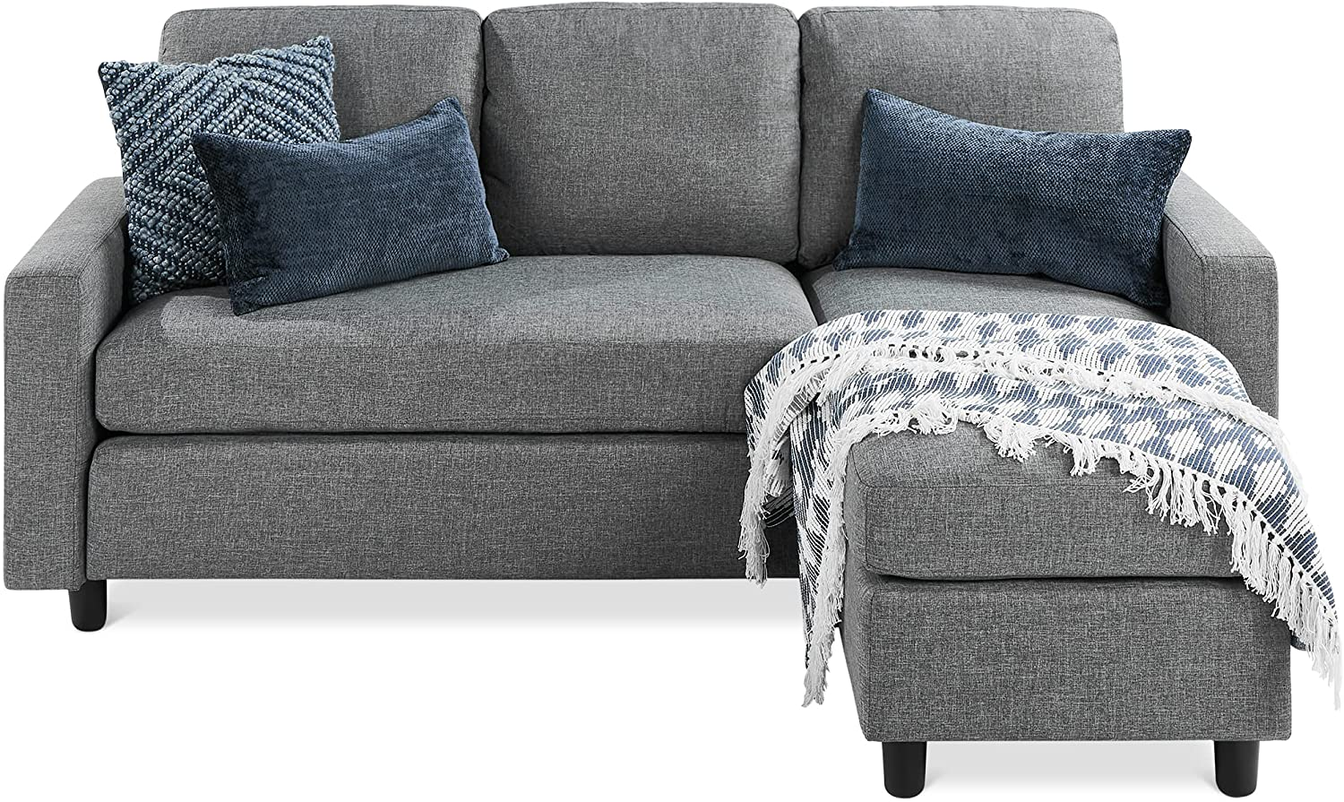 Best Choice Products Linen Sectional Sofa for Home, Apartment, Dorm, Bonus Room, Compact Spaces w/Chaise Lounge, 3-Seat, L-Shape Design, Reversible Ottoman Bench, 680lb Capacity - Gray