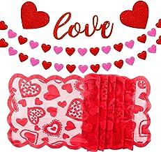 TUPARKA Love Heart Garland Banner con Red Heart Lace Table Runner para la decoración del día de San Valentín Boda en casa, Despedida de Soltera, Despedida de Soltera Suministros de decoración