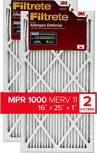 Filtrete 16x25x1, AC Furnace Air Filter, MPR 1000, Micro Allergen Defense, 2-Pack (exact dimensions 15.719 x 24.72 x ...