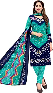 Ishin Synthetic Blue Printed Women's Unstitched Salwar Suits dress material with Dupatta