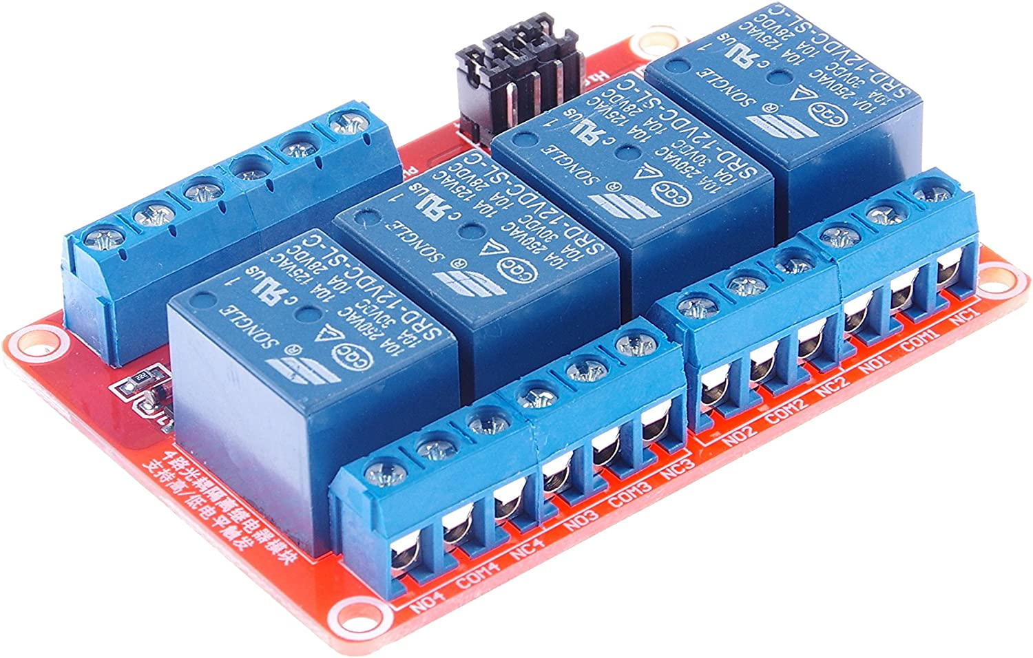 Industrial System Control AC 250V for PLC Automation Control KNACRO 4-Channel DC 12V Relay Module High Low Level Triggering Optocoupler Isolation Load 10A DC 30V DC 12V 10A, 4-Channel