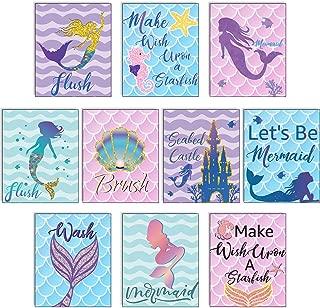 Blulu 10 Pieces Let's Be Mermaids Poster Ocean Mermaid Sign 12.4 x 10.2 Inch Unframed Art Print for Mermaid Party Girls Bedroom Bathroom Home Decor