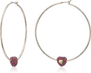 Betsey Johnson (GBG) Women's Fuchsia Pave Stone Heart Hoop Earrings, Fuchsia, One Size