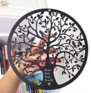 ESTART 11-Inch Metal Tree of Life Wall Decor, Family Tree with birds on branch Wall Hanging Art Decoration for Balcony Patio Porch Bedroom Living Room Garden Office and Farmhouse (Black)