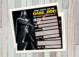 12 STAR WARS - DARTH VADER Birthday Invitations (12 5x7in Cards, 12 matching white envelopes)