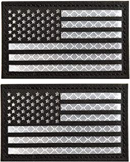 WZT 2 Pack Reflective Tactical USA Flag Patch - American Flag US United States of America Military Uniform Emblem Patches Hook-Fastener Backing (Black)
