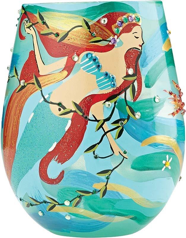 Designs By Lolita Mermaid Hand Painted Artisan Stemless Wine Glass 20 Oz