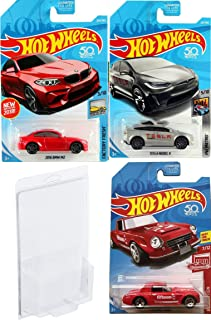 3 Pack Hot Wheels Tesla Model X Metro car Bundled with 2016 BMW M2 Die-Cast Red + Fairlady 2000 Exclusive Edition in Protective Cases 3 items