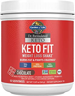 Garden of Life Dr. Formulated Keto Fit Weight Loss Shake - Chocolate Powder, 10 Servings, Truly Grass Fed Butter & Whey Pr...