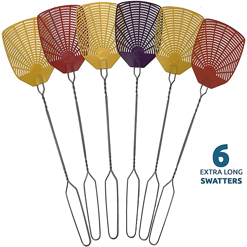 PIC Bug & Fly Swatter – Extra Long Handle Fly Swatters – Indoor/Outdoor – Pest Control Flyswatter (6 Pack)