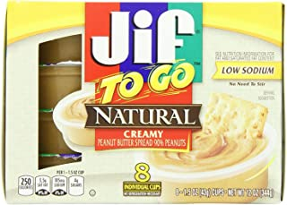 Jif To Go Natural Creamy Peanut Butter, 1.5 oz., 6-12oz 8 pack (48 Total Cups) – Convenient On the Go Pack, 7g (7% DV) of Protein per Serving, Smooth, Creamy Texture – No Stir Natural Peanut Butter