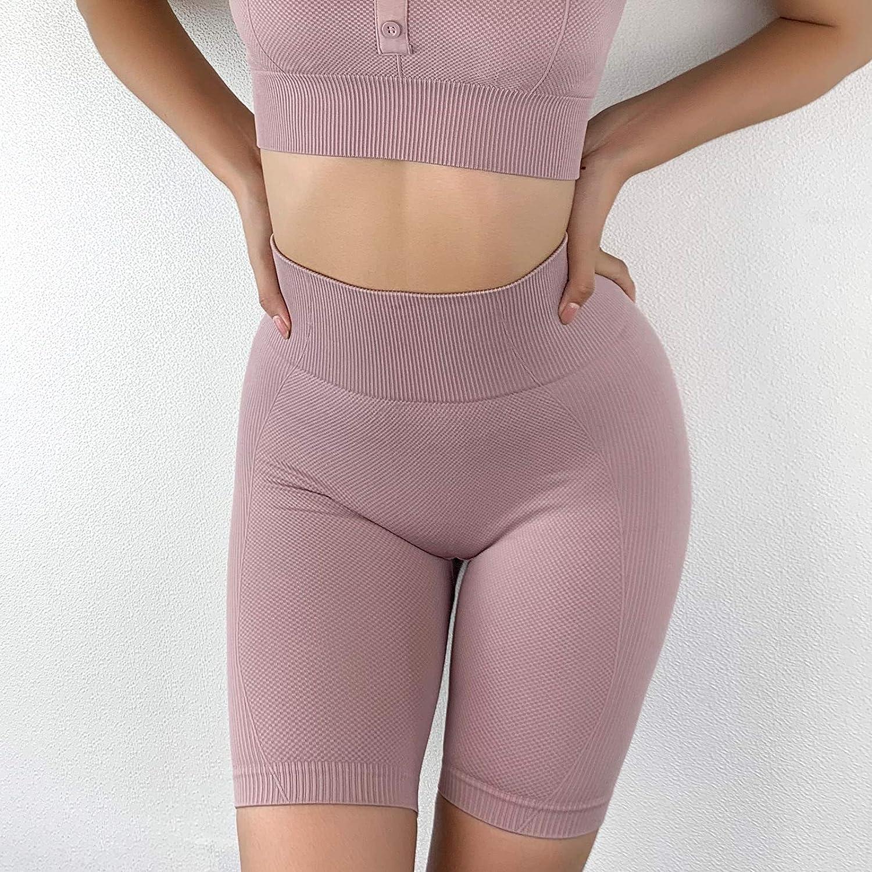 Jetjoy High Waisted Workout Shorts Seamless Biker Shorts for Women Yoga Gym Exercise