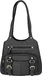 Black Leather Pistol Concealment Shoulder Bag (Black)