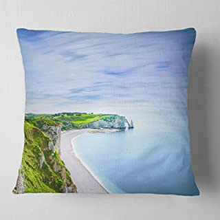Designart Etretat Aval Cliff and Rocks Normandy' Beach Photo Throw Cushion Pillow Cover for Living Room, sofa 18 in. x 18 in