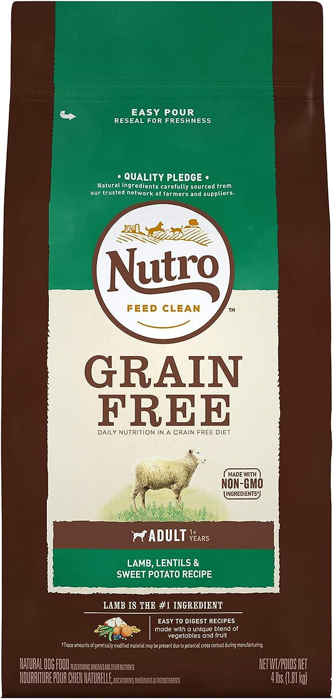 Nutro Grain Free Adult Dry Dog Food PastureFed Lamb, Lentils and Sweet Potato, 4 Lb. Bag