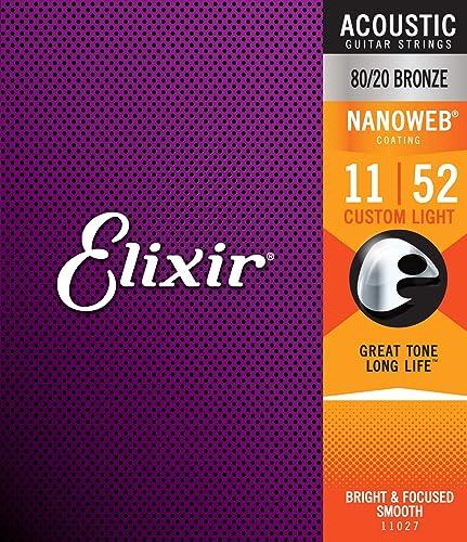 Cordes Elixir® en Bronze 80/20 pour guitare acoustique avec revêtement NANOWEB®, Custom Light (.011-.052)