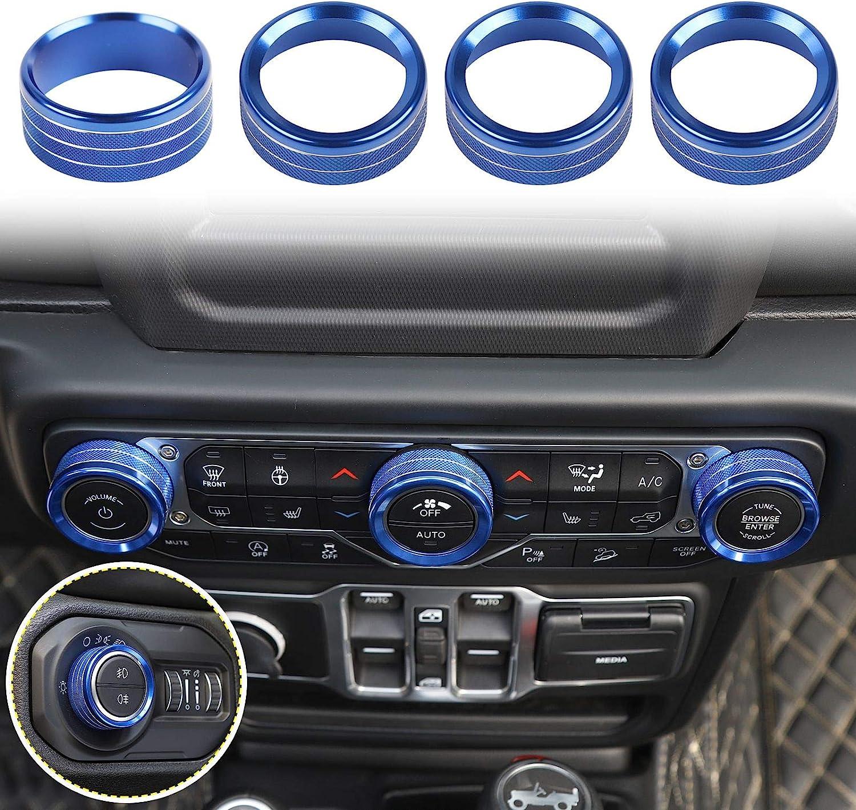 Blue Aluminum Alloy 4pcs Voodonala Air Conditioner Headlight Switch Knob Trim for 2018-2020 Jeep Wrangler JL JLU Gladiator JT