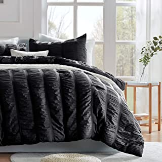SLEEP ZONE All Season Seersucker Comforter Set Luxury Down Alternative Lightweight Easy-wash Fluffy Soft Microfiber Duvet Insert 3-Pieces (Black, King)
