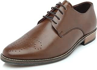 Heels & Shoes Men's Wholecut Oxford Brown Faux Leather Shoes