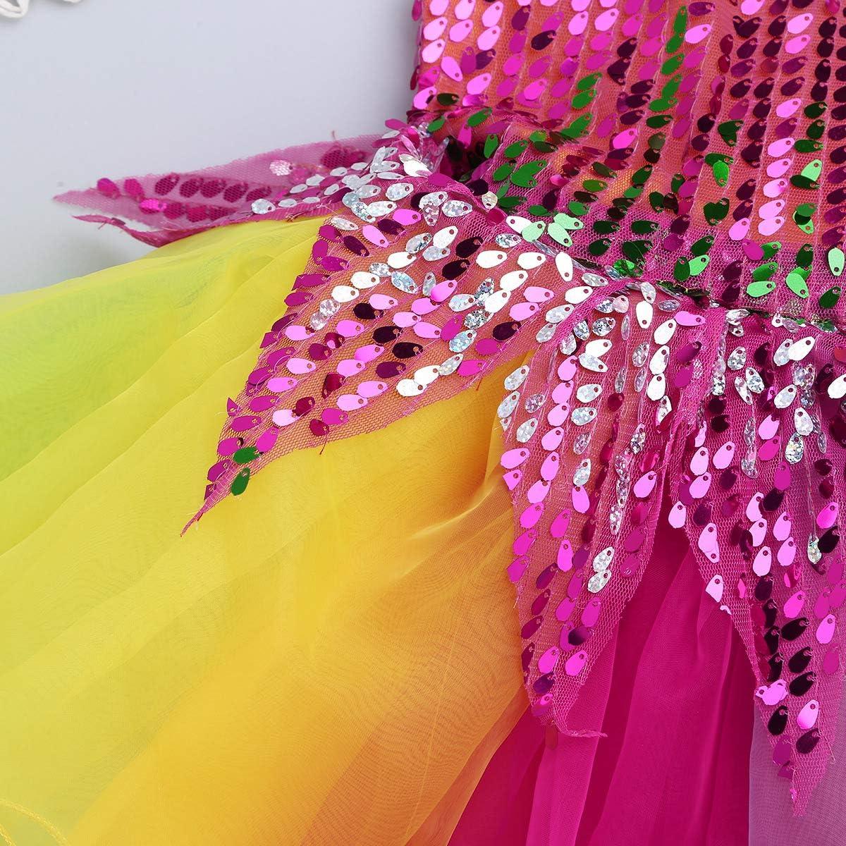 YiZYiF Enfant Fille Robe de Danse Justaucorps Ballet Latine Patinage Pom-Pom Robe /à Paillette Robe Soir/ée et Bracelet Costume Danse Performance Carnaval Robe 18 Mois-12 Ans