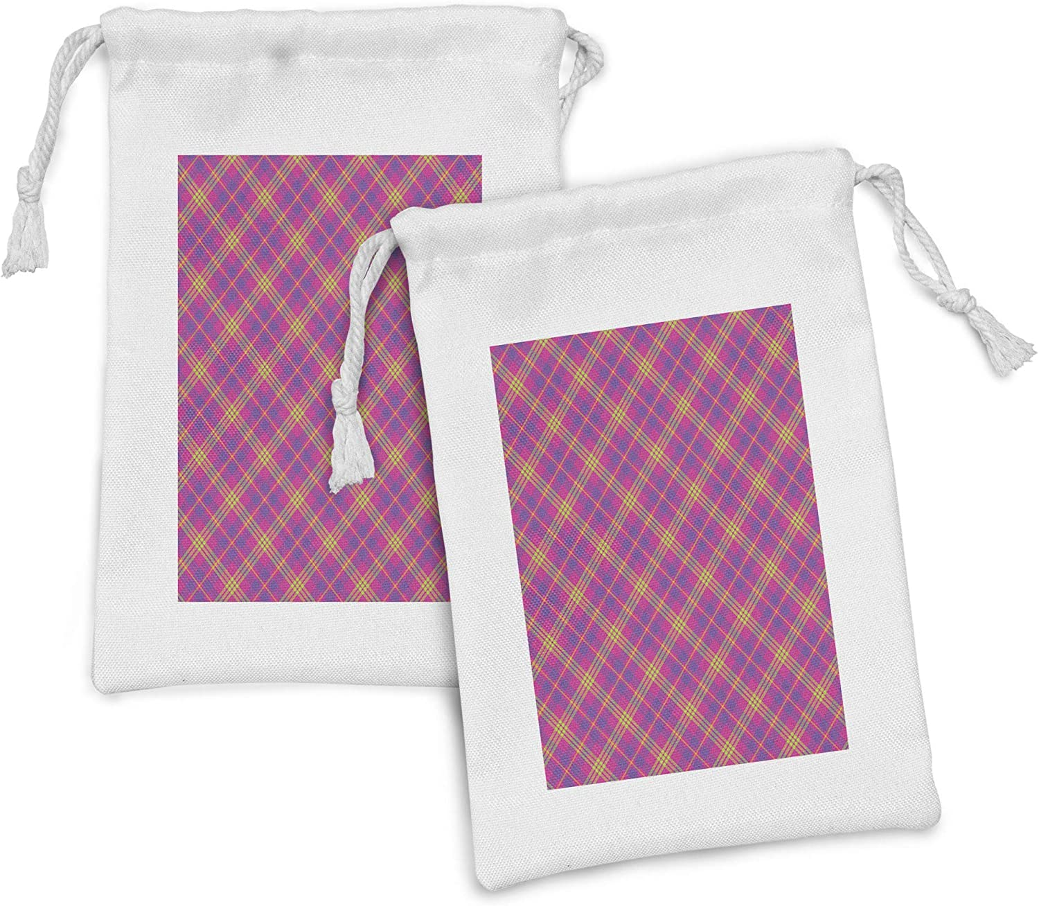 cheap Lunarable Plaid Fabric Pouch Set Sales of 2 Motif Abstract Checkered