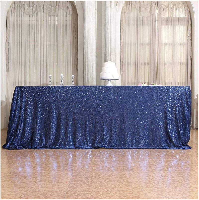 Poise3EHome 50 72 Rectangle Sequin Tablecloth For Party Cake Dessert Table Exhibition Events Navy Blue