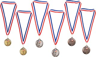 Juvale Gold Silver Bronze Medals - 2-Set 1st 2nd 3rd Metal Olympic Style Winner Awards, Perfect for Sports, Competitions, Spelling Bees, Party Favors, 2.75 Inches Diameter with 16.3 Inch USA Ribbon