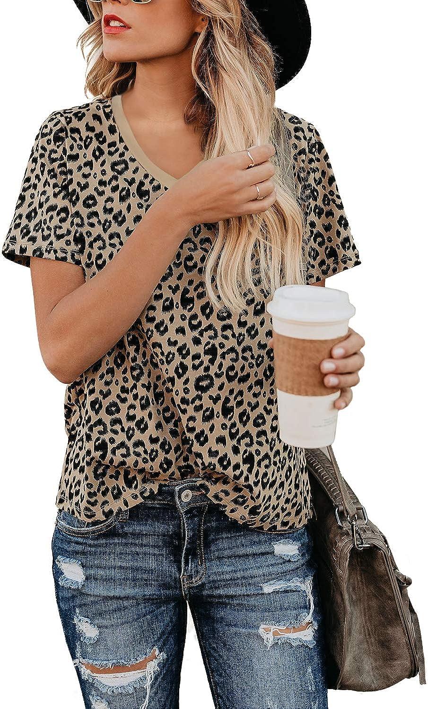 BMJL Women's Casual Cute Shirts Leopard Print Tops Basic Summer Short Sleeve Fashion Soft Blouse Loose Fit Tshirt