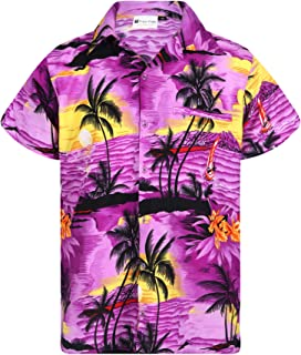 Hawaiian Shirt for Men's Short Sleeve Small Palm Print Casual Fashion Beach Shirt