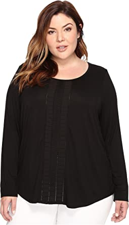 Plus Size Knit and Woven Pleated Top