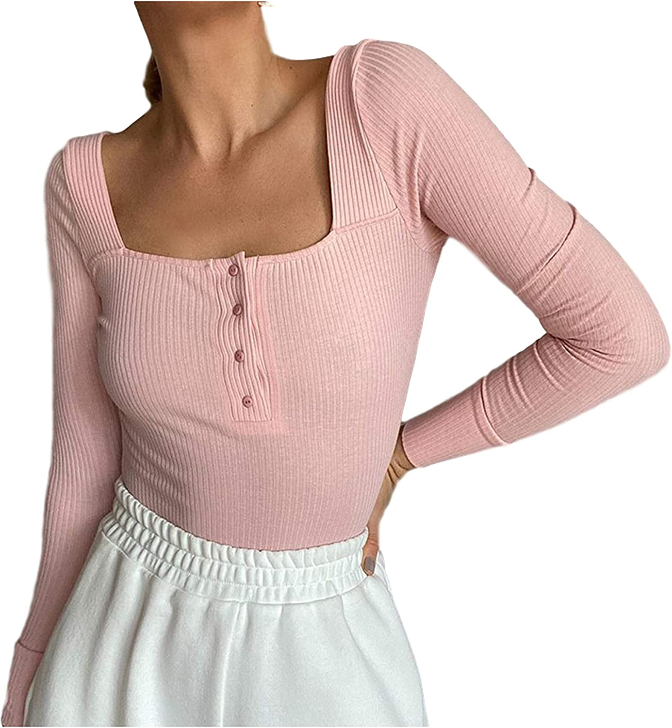 Uaneo Womens Casual Ribbed Scoop Neck Button Down Long Sleeve Leotard Bodysuits(Pink-S)