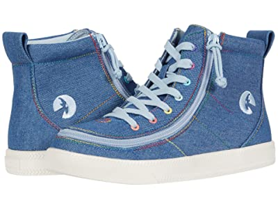 BILLY Footwear Kids Classic Lace High (Little Kid/Big Kid) (Denim Rainbow Thread) Girl