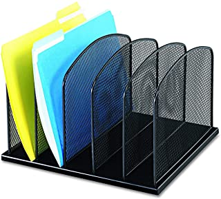 Safco Products Onyx Mesh 5 Sort Vertical Desktop Organizer 3256BL, Black Powder Coat Finish, Durable Steel Mesh Construction
