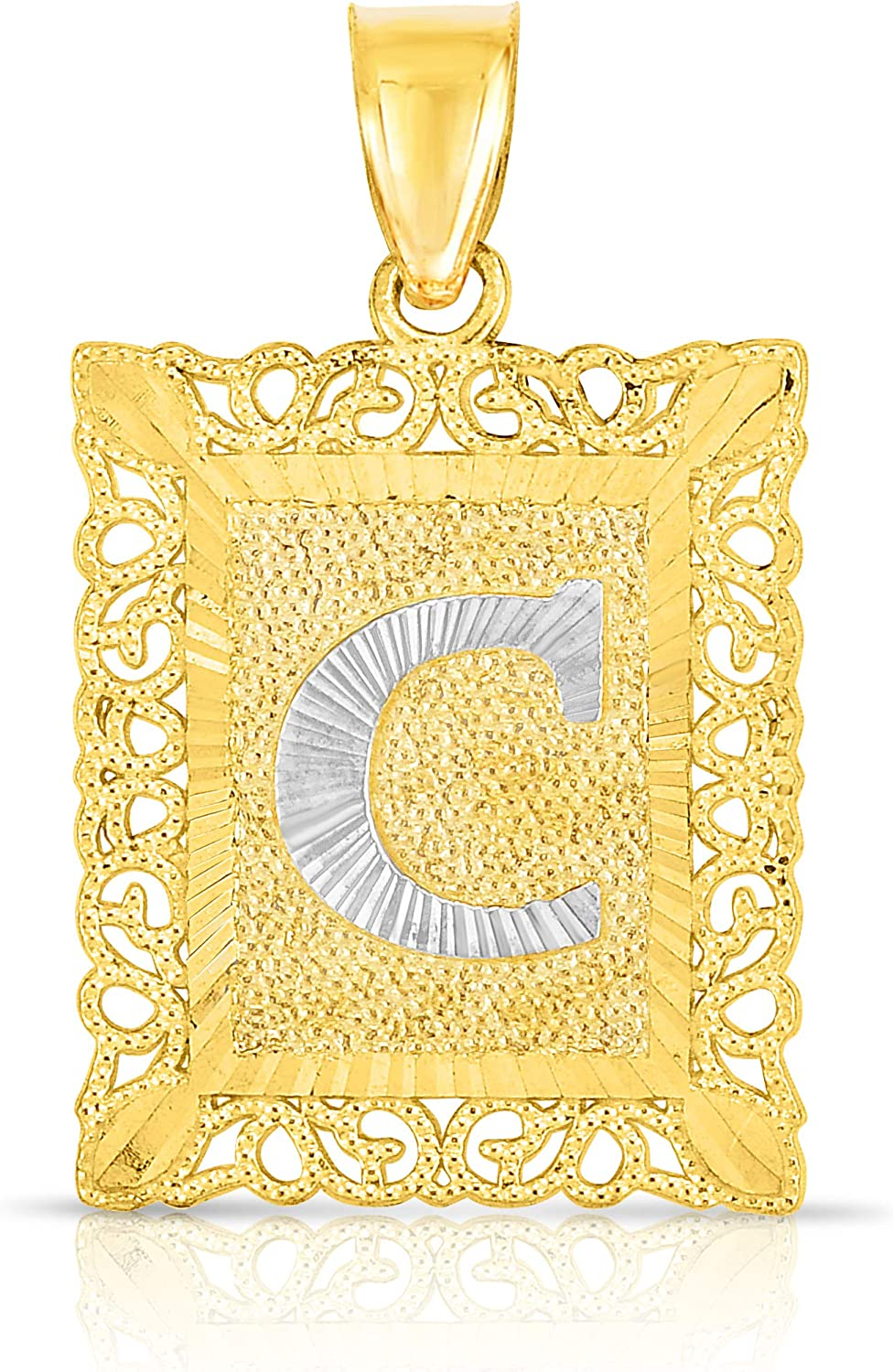 Floreo 10k Yellow and White Gold A-Z Initial Square Pendant with Optional Necklace, 2 Sizes