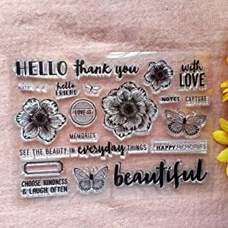 GAWEI Clear Stamps for Scrapbooking and Card Making Words Hello Thank You Flowers ButtrerflyTransparent Stamps Silicone St...